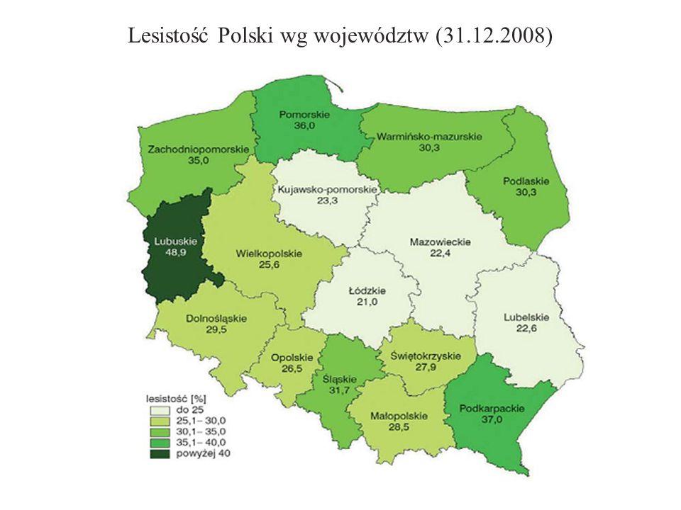 Lesistość Polski wg województw (31.12.2008)