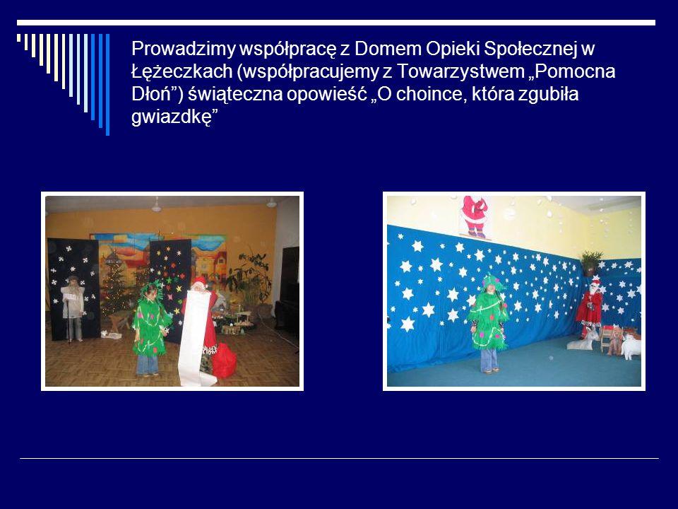 """Prowadzimy współpracę z Domem Opieki Społecznej w Łężeczkach (współpracujemy z Towarzystwem """"Pomocna Dłoń ) świąteczna opowieść """"O choince, która zgubiła gwiazdkę"""
