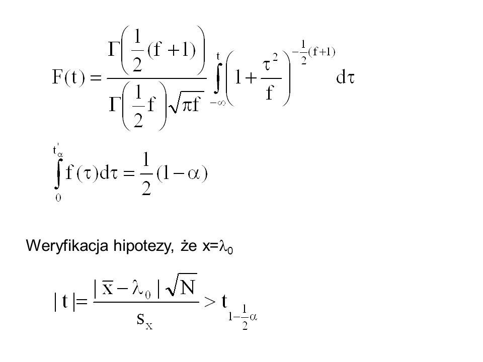Weryfikacja hipotezy, że x= 0