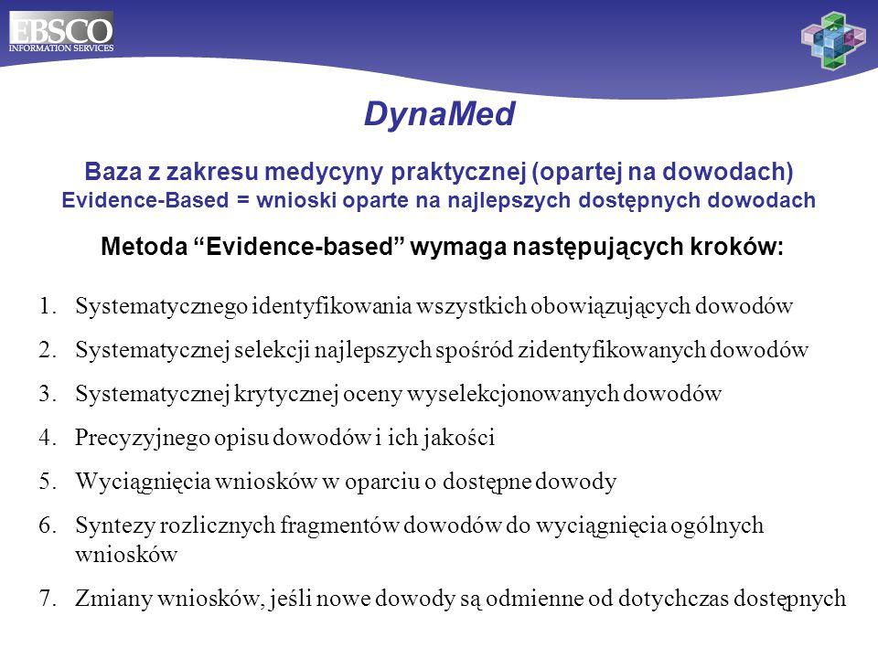 DynaMed Baza DynaMed została stworzona przez lekarzy dla lekarzy Monitoruje 500 czasopism naukowych i używa bazy Cochrane Database of Systematic Reviews i wielu innych źródeł jako podstaw dowodów medycznych - patrz lista: http://dynamicmedical.com/sources.php Jest według niezależnych badań jedynym tego rodzaju narzędziem udzielającym odpowiedzi na większość przypadków klinicznych w opiece podstawowej – patrz artykuł w Annals of Family Medicine vol.