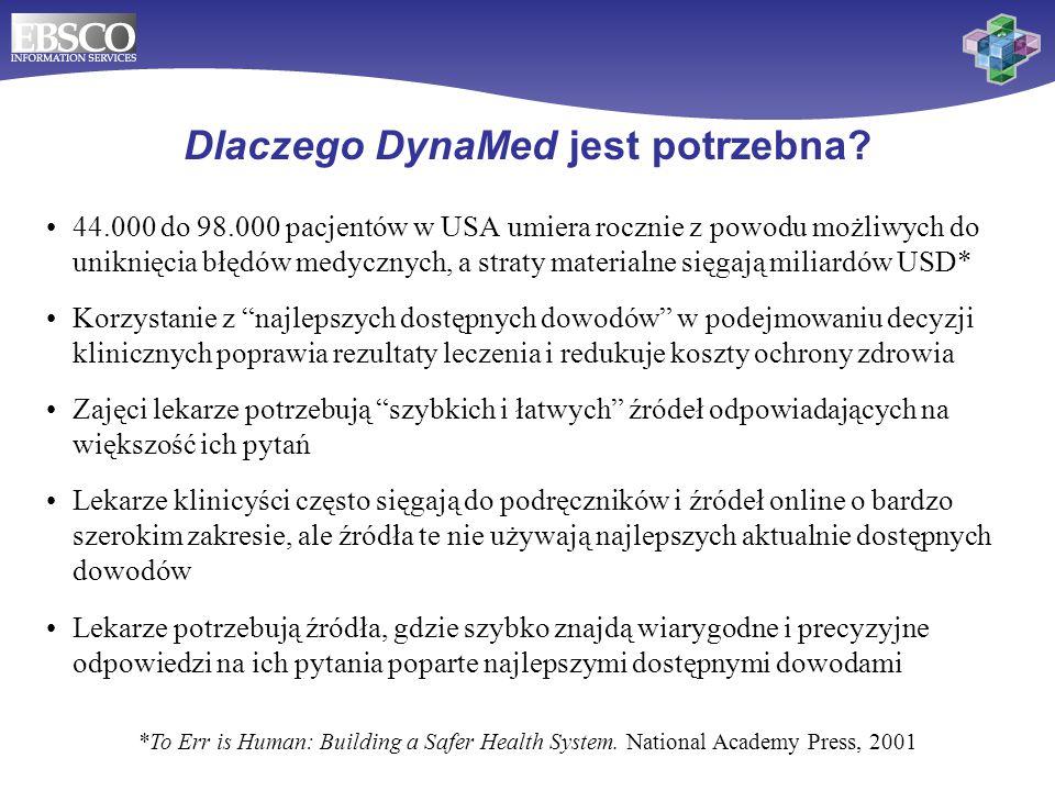 *To Err is Human: Building a Safer Health System. National Academy Press, 2001 Dlaczego DynaMed jest potrzebna? 44.000 do 98.000 pacjentów w USA umier