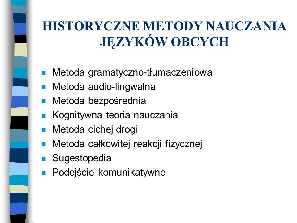 HISTORYCZNE METODY NAUCZANIA JĘZYKÓW OBCYCH n Metoda gramatyczno-tłumaczeniowa n Metoda audio-lingwalna n Metoda bezpośrednia n Kognitywna teoria nauc
