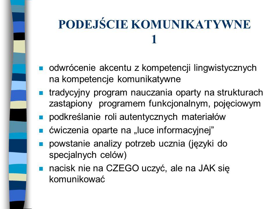 PODEJŚCIE KOMUNIKATYWNE 1 n odwrócenie akcentu z kompetencji lingwistycznych na kompetencje komunikatywne n tradycyjny program nauczania oparty na str