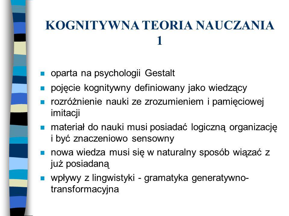 KOGNITYWNA TEORIA NAUCZANIA 2 n żywy język charakteryzuje się kreatywnością,rządzoną regułami n reguły gramatyczne są psychologicznie realne n człowiek jest szczególnie wyposażony do nauki języków n żywy język to taki w którym myślimy n języki mają podobną strukturę głęboką