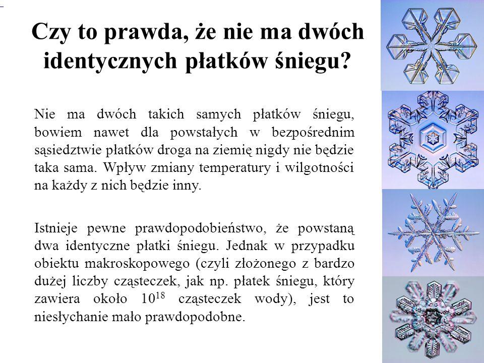 Czy to prawda, że nie ma dwóch identycznych płatków śniegu? Nie ma dwóch takich samych płatków śniegu, bowiem nawet dla powstałych w bezpośrednim sąsi