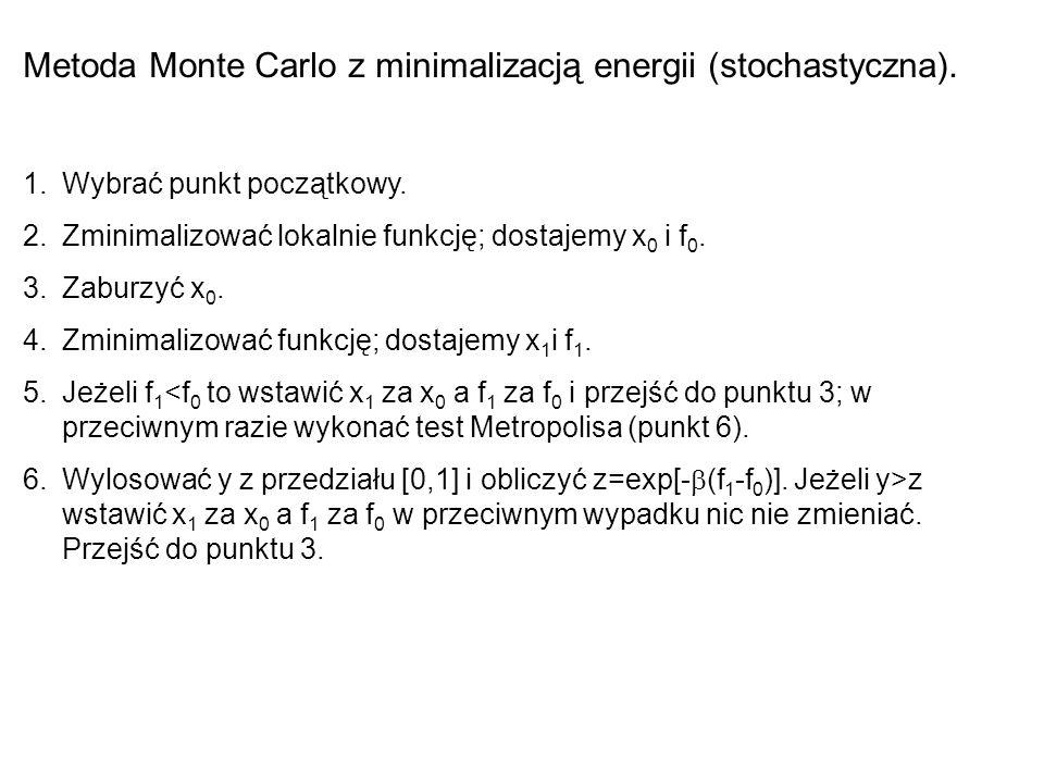 Metoda Monte Carlo z minimalizacją energii (stochastyczna). 1.Wybrać punkt początkowy. 2.Zminimalizować lokalnie funkcję; dostajemy x 0 i f 0. 3.Zabur