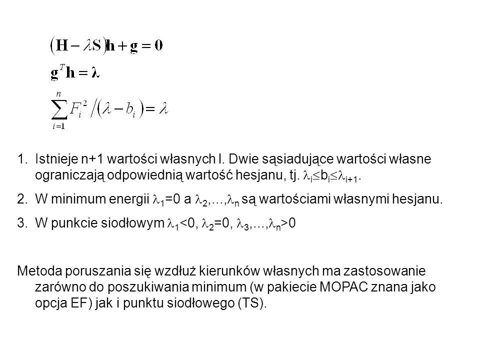 1.Istnieje n+1 wartości własnych l. Dwie sąsiadujące wartości własne ograniczają odpowiednią wartość hesjanu, tj. i  b i  i+1. 2.W minimum energii 1