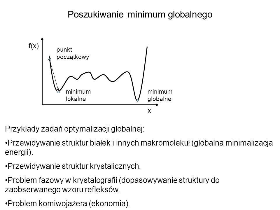 x f(x) punkt początkowy minimum lokalne minimum globalne Poszukiwanie minimum globalnego Przykłady zadań optymalizacji globalnej: Przewidywanie strukt