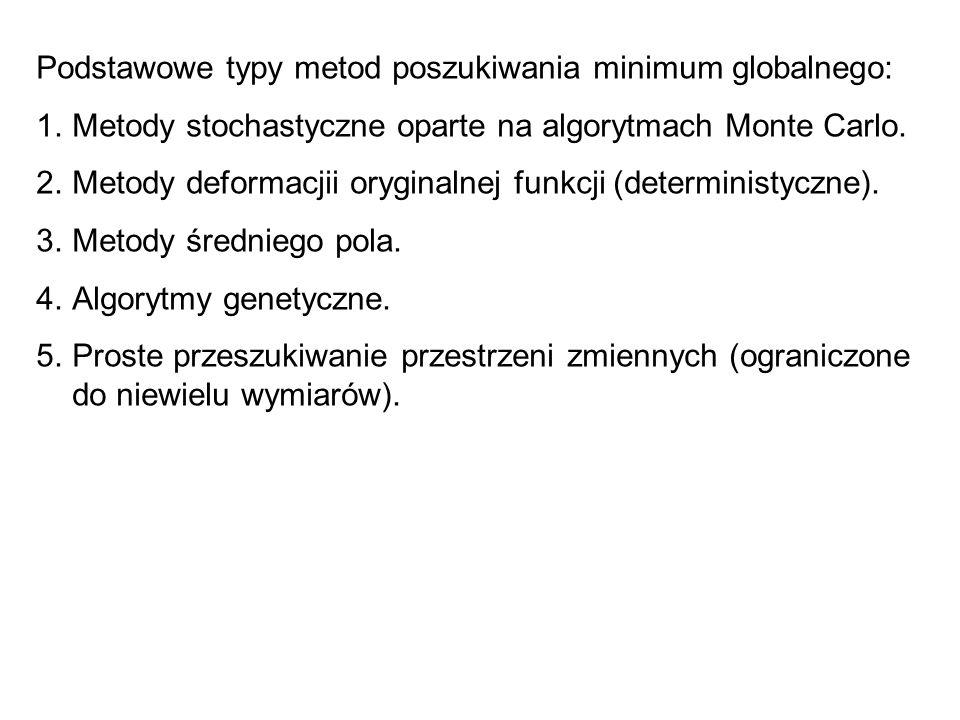 Podstawowe typy metod poszukiwania minimum globalnego: 1.Metody stochastyczne oparte na algorytmach Monte Carlo. 2.Metody deformacjii oryginalnej funk