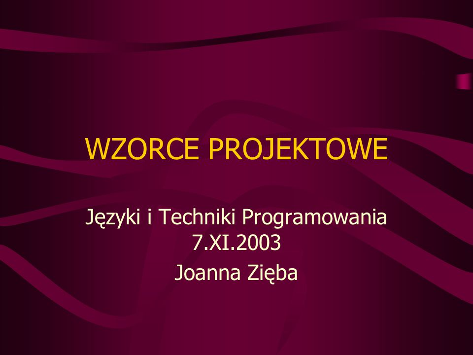 Przykład (bajkowy :-)) //: state:KissingPrincess.java package state; import junit.framework.*; class Creature { private boolean isFrog = true; public void greet() { if(isFrog) System.out.println( Ribbet! ); else System.out.println( Darling! ); } public void kiss() { isFrog = false; } } public class KissingPrincess extends TestCase { Creature creature = new Creature(); public void test() { creature.greet(); creature.kiss(); creature.greet(); } public static void main(String args[]) { junit.textui.TestRunner.run(Ki ssingPrincess.class); }