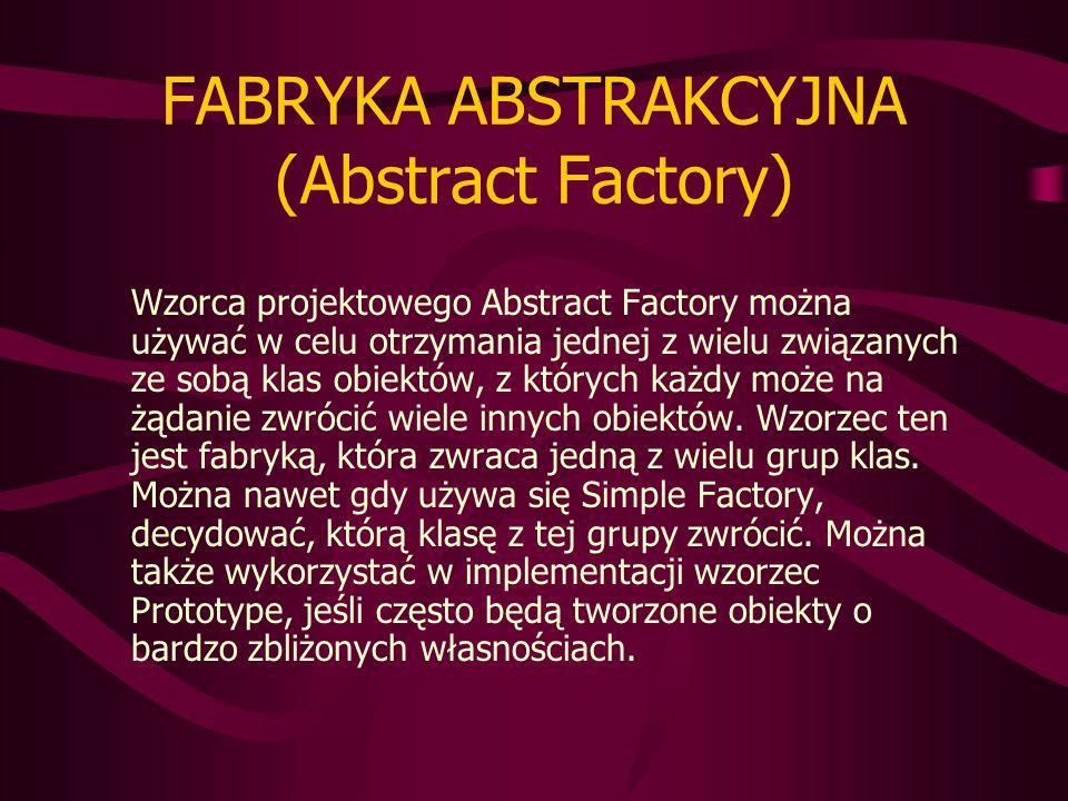 FABRYKA ABSTRAKCYJNA (Abstract Factory) Wzorca projektowego Abstract Factory można używać w celu otrzymania jednej z wielu związanych ze sobą klas obiektów, z których każdy może na żądanie zwrócić wiele innych obiektów.