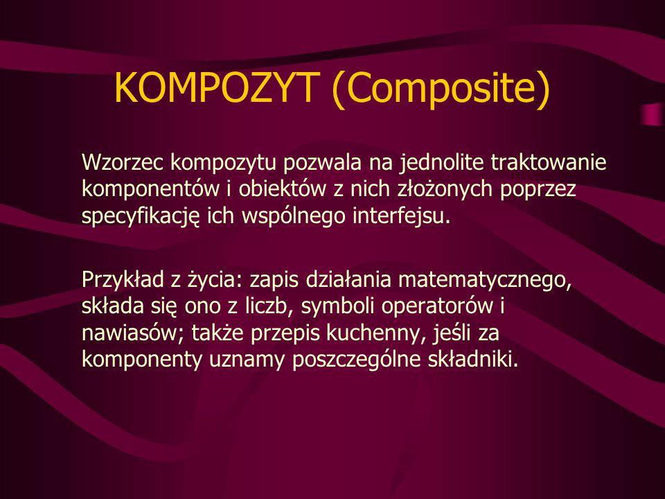 KOMPOZYT (Composite) Wzorzec kompozytu pozwala na jednolite traktowanie komponentów i obiektów z nich złożonych poprzez specyfikację ich wspólnego interfejsu.