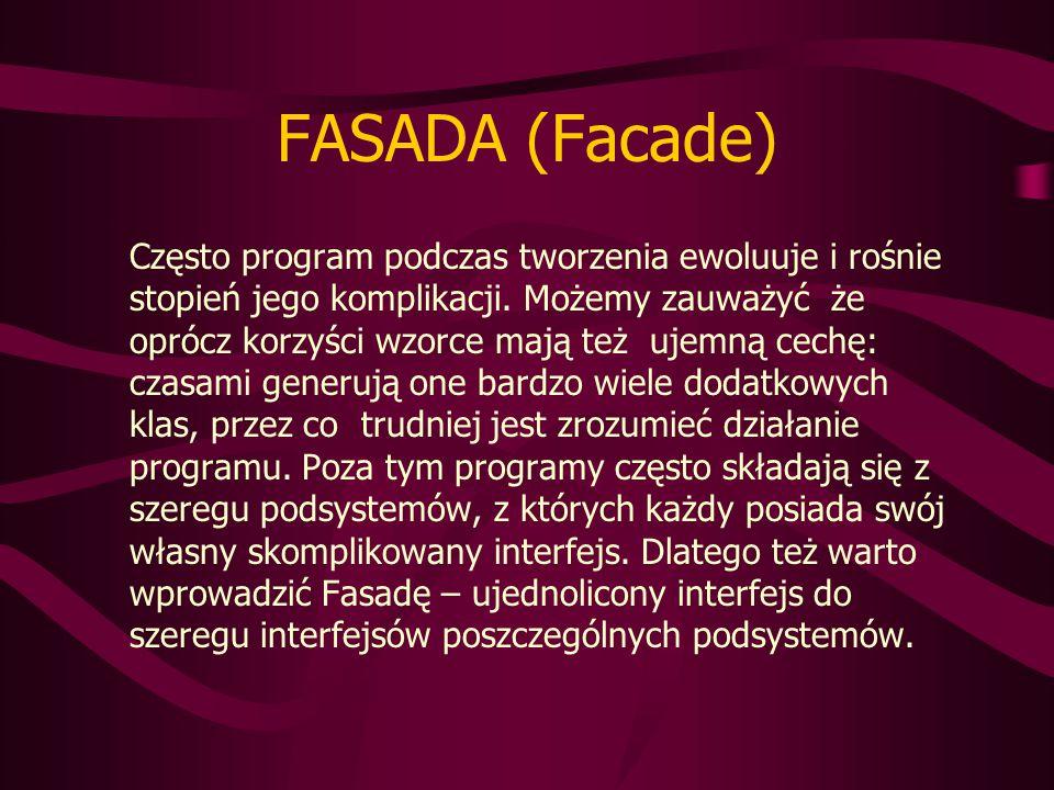 FASADA (Facade) Często program podczas tworzenia ewoluuje i rośnie stopień jego komplikacji.
