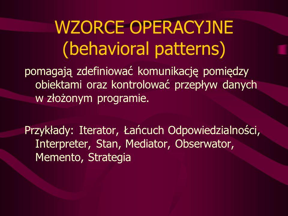 WZORCE OPERACYJNE (behavioral patterns) pomagają zdefiniować komunikację pomiędzy obiektami oraz kontrolować przepływ danych w złożonym programie.