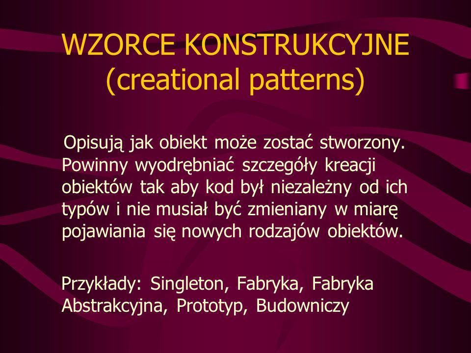 WZORCE KONSTRUKCYJNE (creational patterns) Opisują jak obiekt może zostać stworzony.