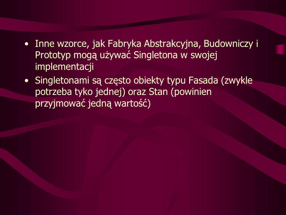 Rozwiązanie: zamknięcie wszystkich DataPoint w jednym ExternalizedData class ExternalizedData { static final int size = 5000000; static int[] id = new int[size]; static int[] i = new int[size]; static float[] f = new float[size]; static { for(int i = 0; i < size; i++) id[i] = i; } class FlyPoint { private FlyPoint() {} public static int getI(int obnum) { return ExternalizedData.i[obnum]; } public static void setI(int obnum, int i) { ExternalizedData.i[obnum] = i; } public static float getF(int obnum) { return ExternalizedData.f[obnum]; } public static void setF(int obnum, float f) { ExternalizedData.f[obnum] = f; } public static String str(int obnum) { return id: + ExternalizedData.id[obnum] + , i = + ExternalizedData.i[obnum] + , f = + ExternalizedData.f[obnum]; } public class FlyWeightObjects { public static void main(String[] args) { for(int i = 0; i < ExternalizedData.size; i++) { FlyPoint.setI(i, FlyPoint.getI(i) + 1); FlyPoint.setF(i, 47.0f); } System.out.println( FlyPoint.str(ExternalizedData.size -1)); }