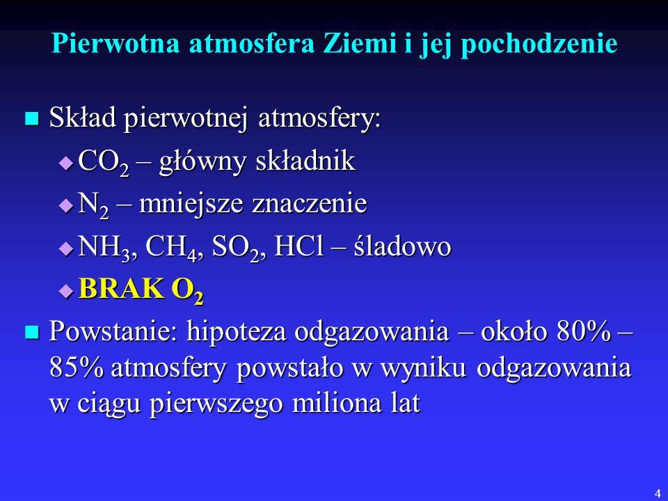 4 Pierwotna atmosfera Ziemi i jej pochodzenie Skład pierwotnej atmosfery: Skład pierwotnej atmosfery:  CO 2 – główny składnik  N 2 – mniejsze znaczenie  NH 3, CH 4, SO 2, HCl – śladowo  BRAK O 2 Powstanie: hipoteza odgazowania – około 80% – 85% atmosfery powstało w wyniku odgazowania w ciągu pierwszego miliona lat Powstanie: hipoteza odgazowania – około 80% – 85% atmosfery powstało w wyniku odgazowania w ciągu pierwszego miliona lat
