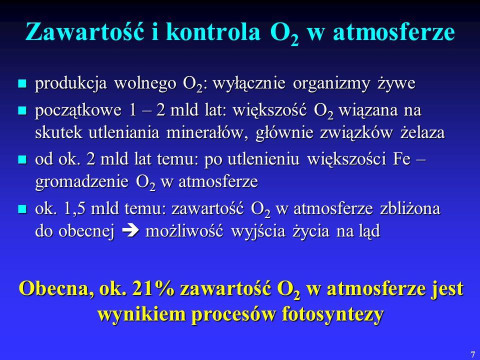 7 Zawartość i kontrola O 2 w atmosferze produkcja wolnego O 2 : wyłącznie organizmy żywe produkcja wolnego O 2 : wyłącznie organizmy żywe początkowe 1 – 2 mld lat: większość O 2 wiązana na skutek utleniania minerałów, głównie związków żelaza początkowe 1 – 2 mld lat: większość O 2 wiązana na skutek utleniania minerałów, głównie związków żelaza od ok.