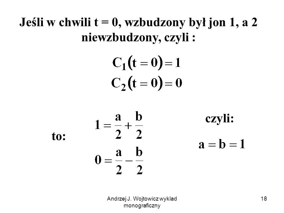 Andrzej J. Wojtowicz wyklad monograficzny 18 to: Jeśli w chwili t = 0, wzbudzony był jon 1, a 2 niewzbudzony, czyli : czyli: