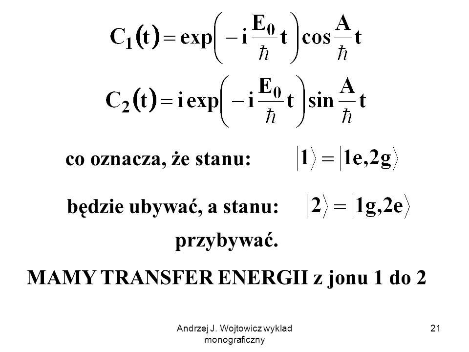 Andrzej J. Wojtowicz wyklad monograficzny 21 co oznacza, że stanu: będzie ubywać, a stanu: przybywać. MAMY TRANSFER ENERGII z jonu 1 do 2