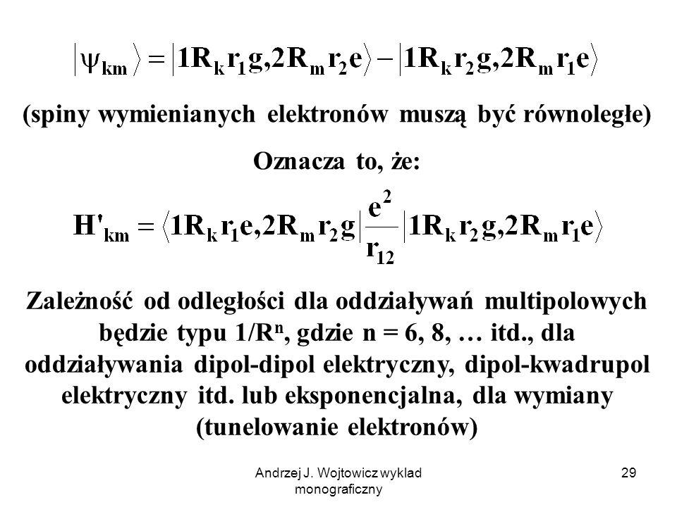 Andrzej J. Wojtowicz wyklad monograficzny 29 (spiny wymienianych elektronów muszą być równoległe) Oznacza to, że: Zależność od odległości dla oddziały