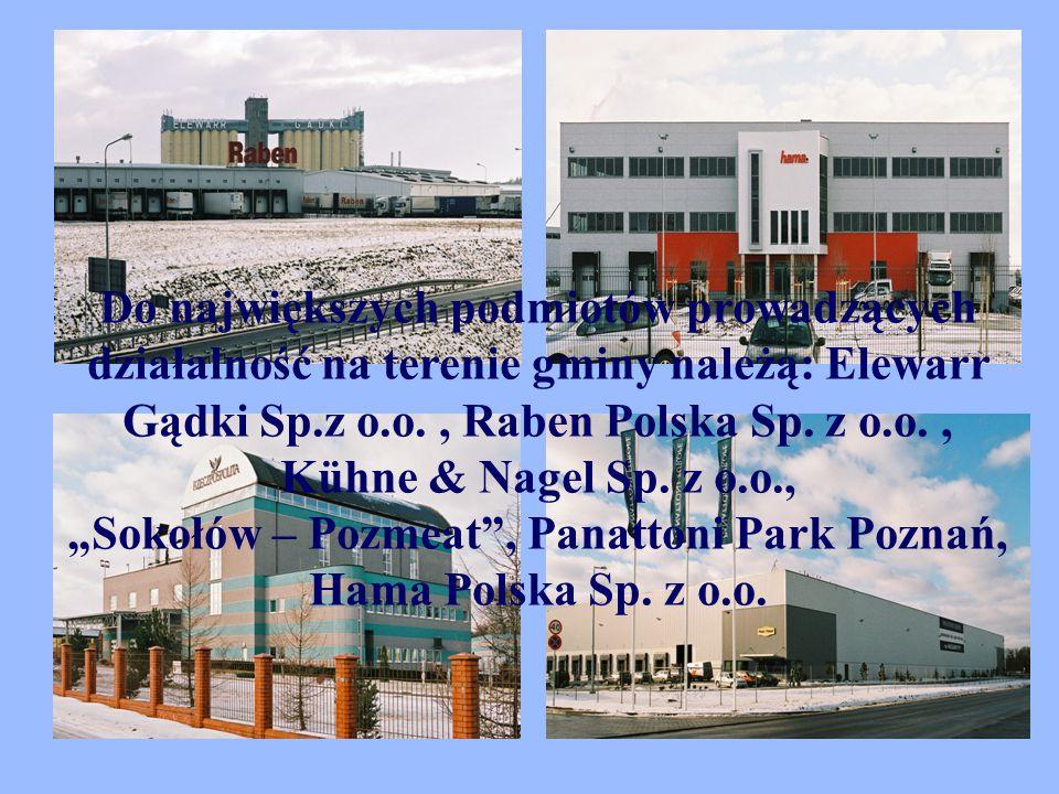 Do największych podmiotów prowadzących działalność na terenie gminy należą: Elewarr Gądki Sp.z o.o., Raben Polska Sp.