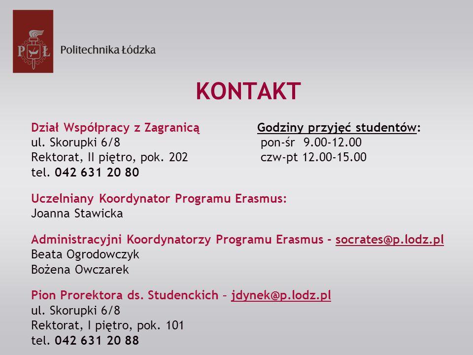 KONTAKT Dział Współpracy z Zagranicą Godziny przyjęć studentów: ul.