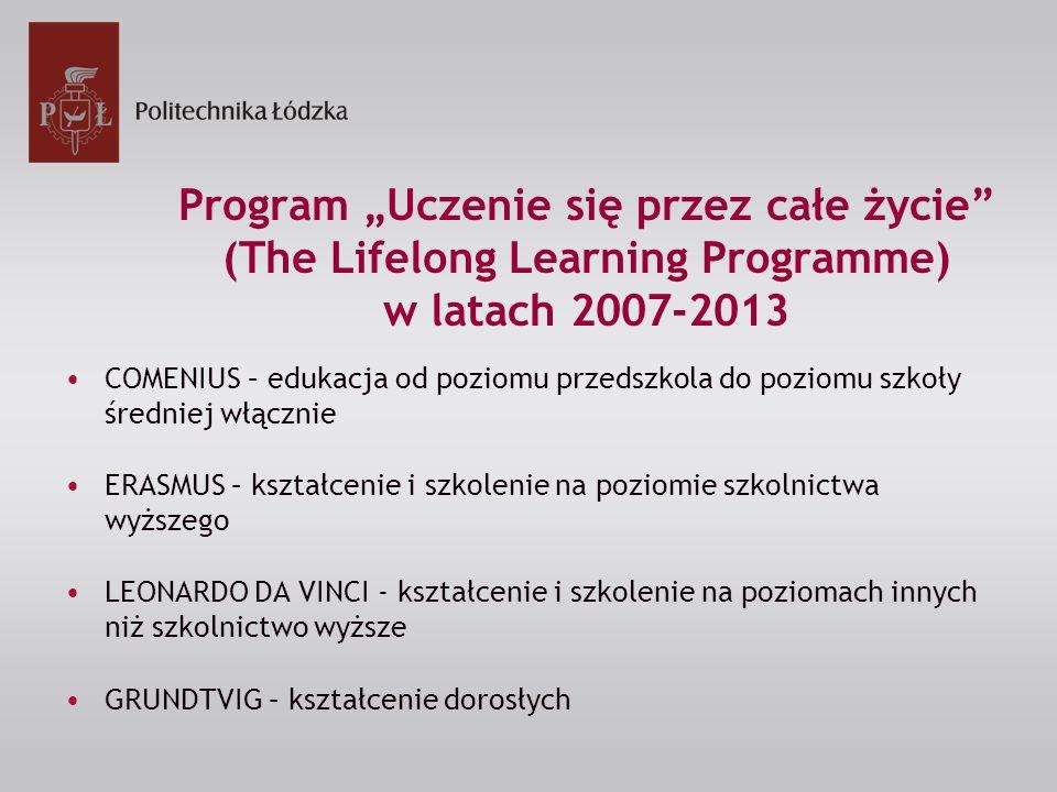 """Program """"Uczenie się przez całe życie (The Lifelong Learning Programme) w latach 2007-2013 COMENIUS – edukacja od poziomu przedszkola do poziomu szkoły średniej włącznie ERASMUS – kształcenie i szkolenie na poziomie szkolnictwa wyższego LEONARDO DA VINCI - kształcenie i szkolenie na poziomach innych niż szkolnictwo wyższe GRUNDTVIG – kształcenie dorosłych"""