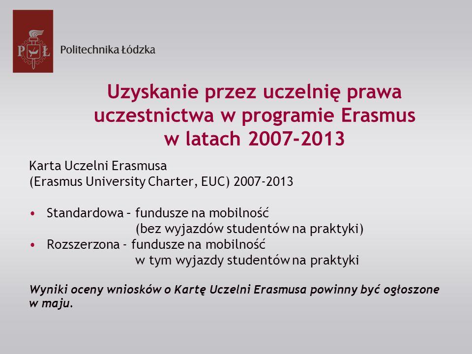 Karta Uczelni Erasmusa (Erasmus University Charter, EUC) 2007-2013 Standardowa – fundusze na mobilność (bez wyjazdów studentów na praktyki) Rozszerzona - fundusze na mobilność w tym wyjazdy studentów na praktyki Wyniki oceny wniosków o Kartę Uczelni Erasmusa powinny być ogłoszone w maju.