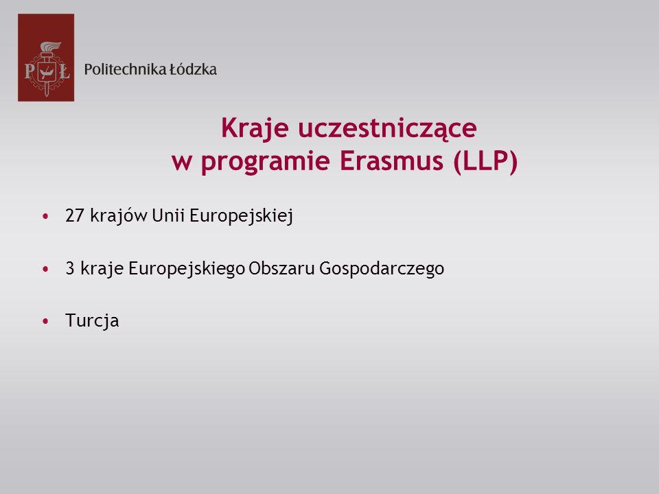 27 krajów Unii Europejskiej 3 kraje Europejskiego Obszaru Gospodarczego Turcja Kraje uczestniczące w programie Erasmus (LLP)