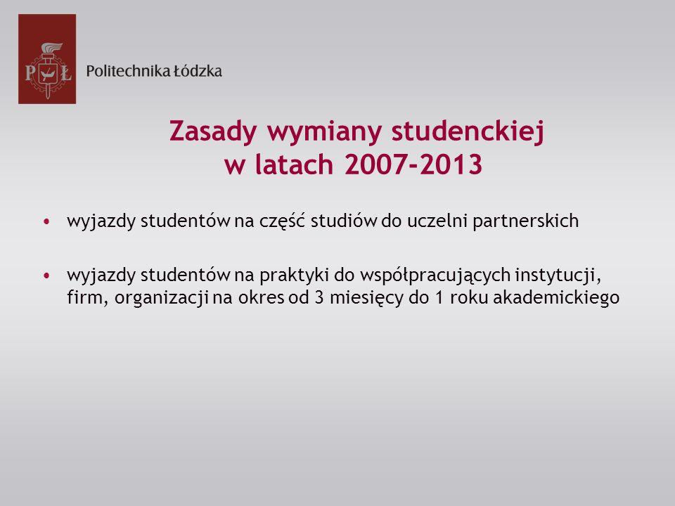 Zasady wymiany studenckiej w latach 2007-2013 wyjazdy studentów na część studiów do uczelni partnerskich wyjazdy studentów na praktyki do współpracujących instytucji, firm, organizacji na okres od 3 miesięcy do 1 roku akademickiego