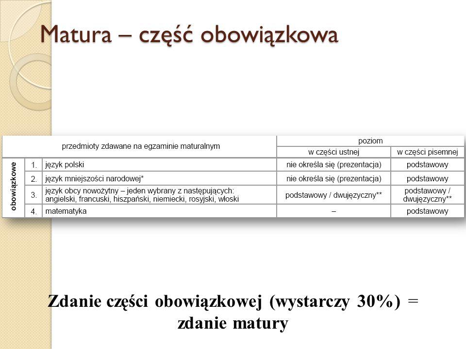 Matura – część obowiązkowa Zdanie części obowiązkowej (wystarczy 30%) = zdanie matury