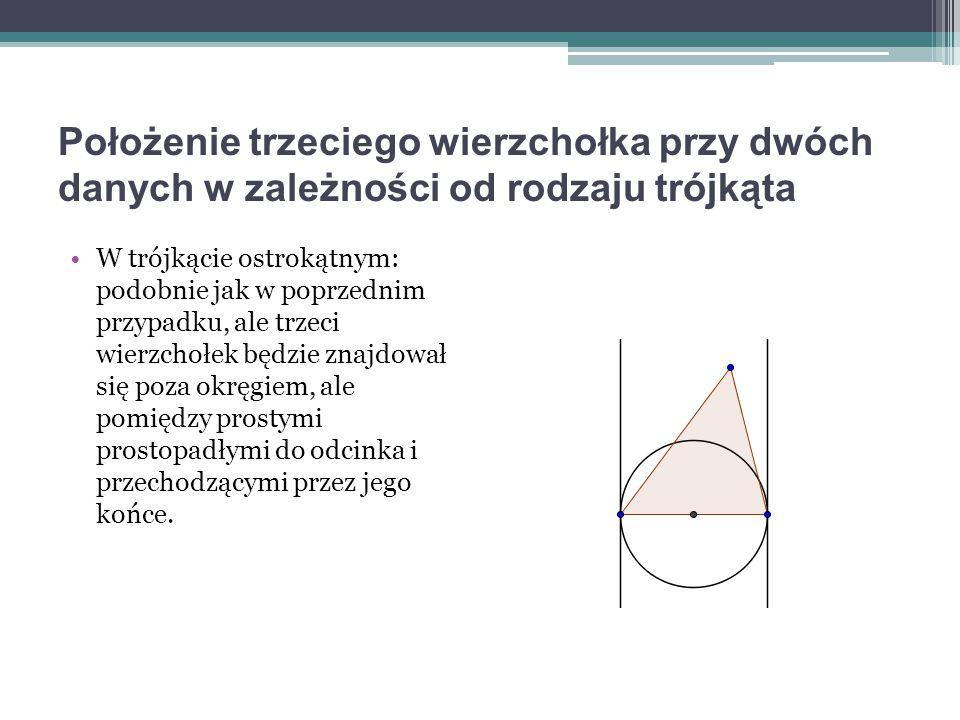 Położenie trzeciego wierzchołka przy dwóch danych w zależności od rodzaju trójkąta W trójkącie ostrokątnym: podobnie jak w poprzednim przypadku, ale t