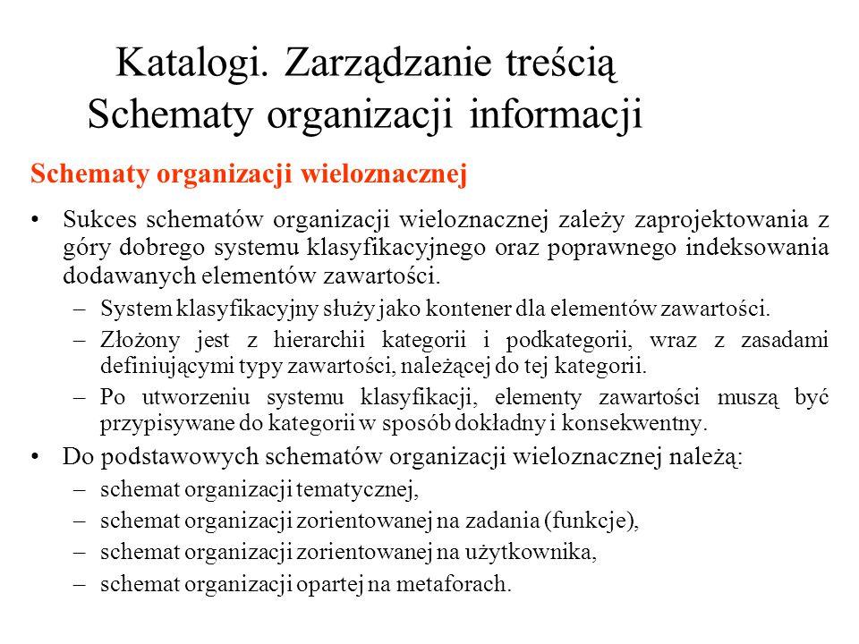 Katalogi. Zarządzanie treścią Schematy organizacji informacji Sukces schematów organizacji wieloznacznej zależy zaprojektowania z góry dobrego systemu