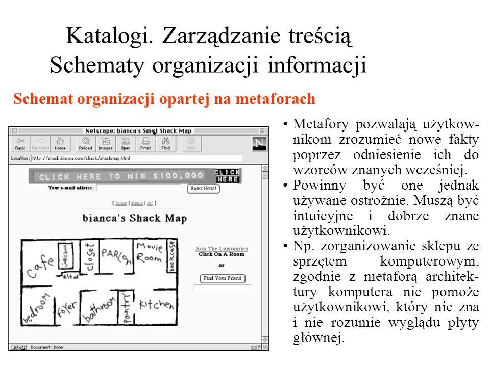 Katalogi. Zarządzanie treścią Schematy organizacji informacji Metafory pozwalają użytkow- nikom zrozumieć nowe fakty poprzez odniesienie ich do wzorcó