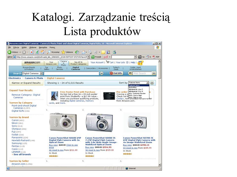 Katalogi. Zarządzanie treścią Lista produktów