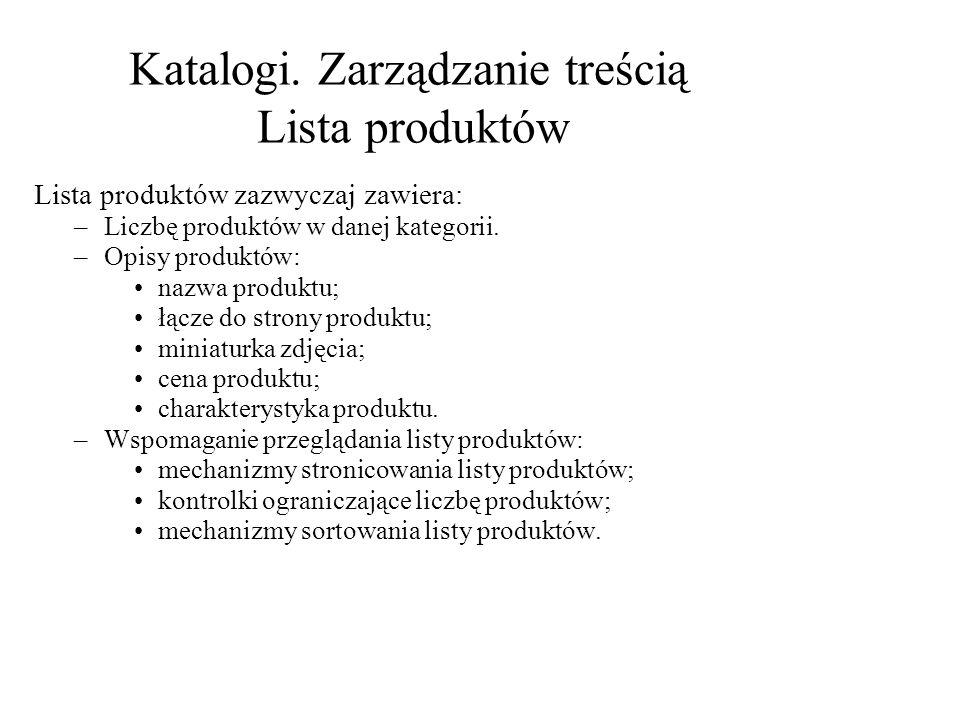 Lista produktów zazwyczaj zawiera: –Liczbę produktów w danej kategorii.