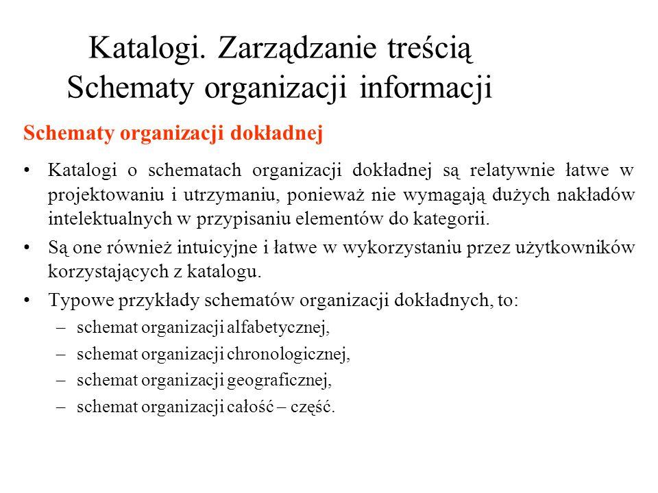 Katalogi. Zarządzanie treścią Schematy organizacji informacji Katalogi o schematach organizacji dokładnej są relatywnie łatwe w projektowaniu i utrzym