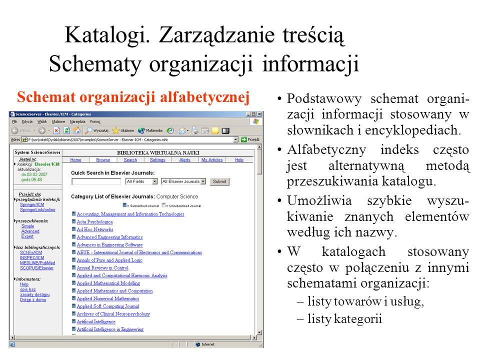 Katalogi. Zarządzanie treścią Schematy organizacji informacji Podstawowy schemat organi- zacji informacji stosowany w słownikach i encyklopediach. Alf