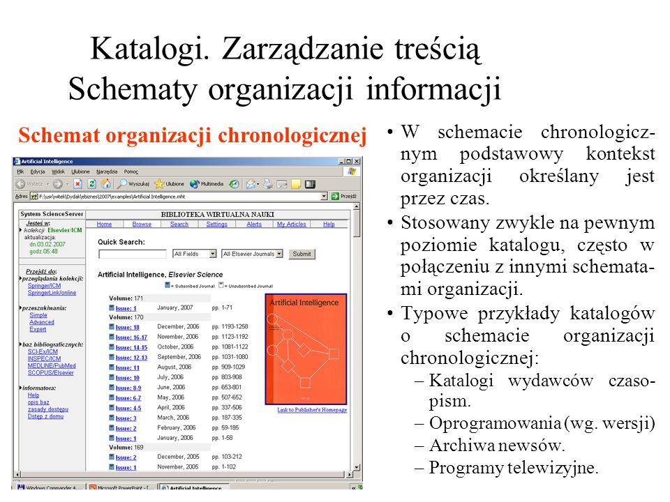 Katalogi. Zarządzanie treścią Schematy organizacji informacji W schemacie chronologicz- nym podstawowy kontekst organizacji określany jest przez czas.