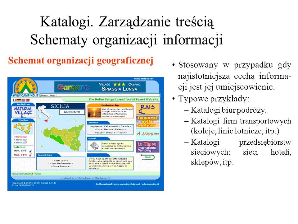 Katalogi. Zarządzanie treścią Schematy organizacji informacji Stosowany w przypadku gdy najistotniejszą cechą informa- cji jest jej umiejscowienie. Ty