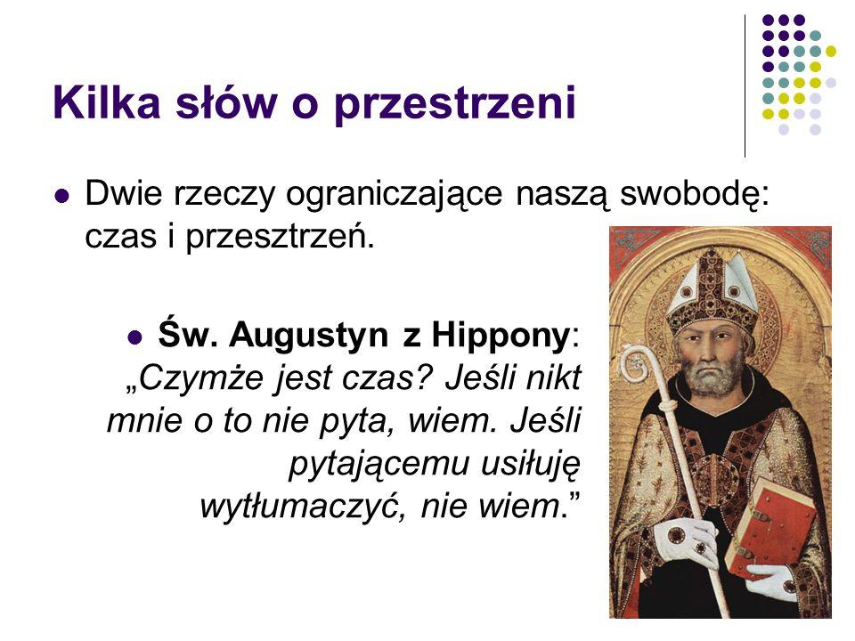 """Kilka słów o przestrzeni Św. Augustyn z Hippony: """"Czymże jest czas? Jeśli nikt mnie o to nie pyta, wiem. Jeśli pytającemu usiłuję wytłumaczyć, nie wie"""