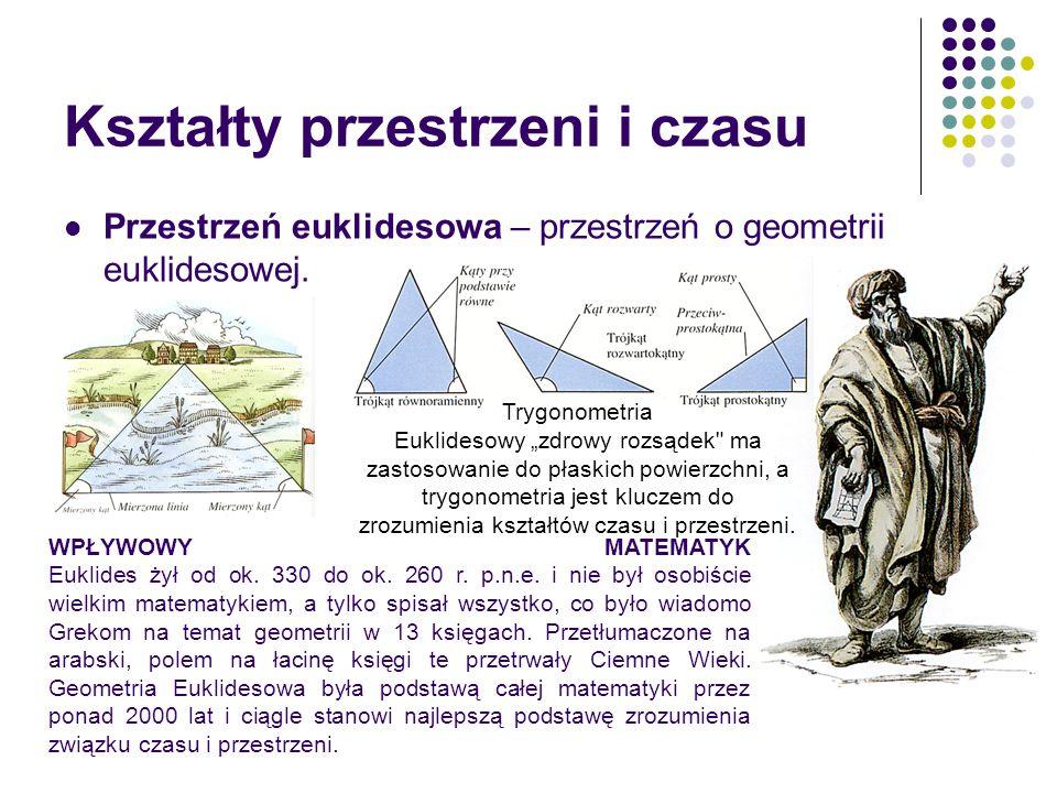 Kształty przestrzeni i czasu Przestrzeń euklidesowa – przestrzeń o geometrii euklidesowej. WPŁYWOWY MATEMATYK Euklides żył od ok. 330 do ok. 260 r. p.