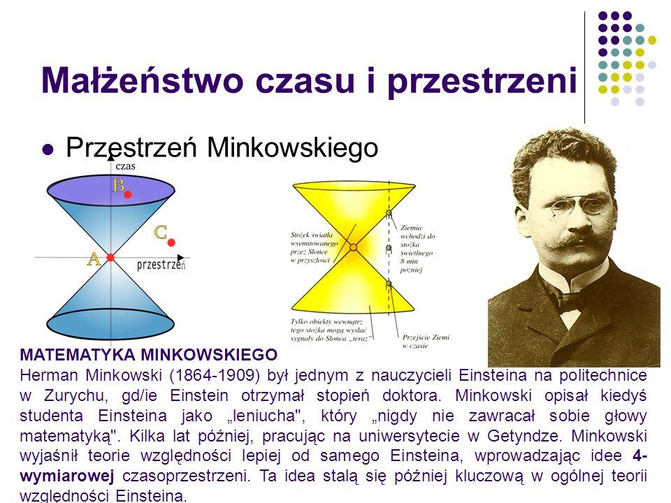 Małżeństwo czasu i przestrzeni Przestrzeń Minkowskiego MATEMATYKA MINKOWSKIEGO Herman Minkowski (1864-1909) był jednym z nauczycieli Einsteina na poli