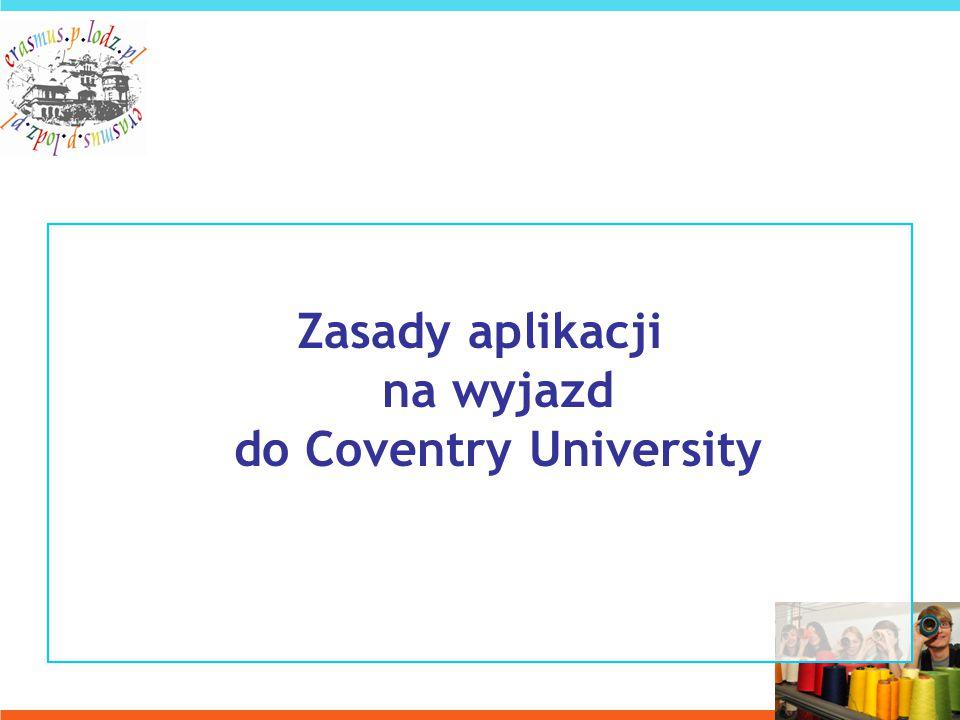 Zasady aplikacji na wyjazd do Coventry University