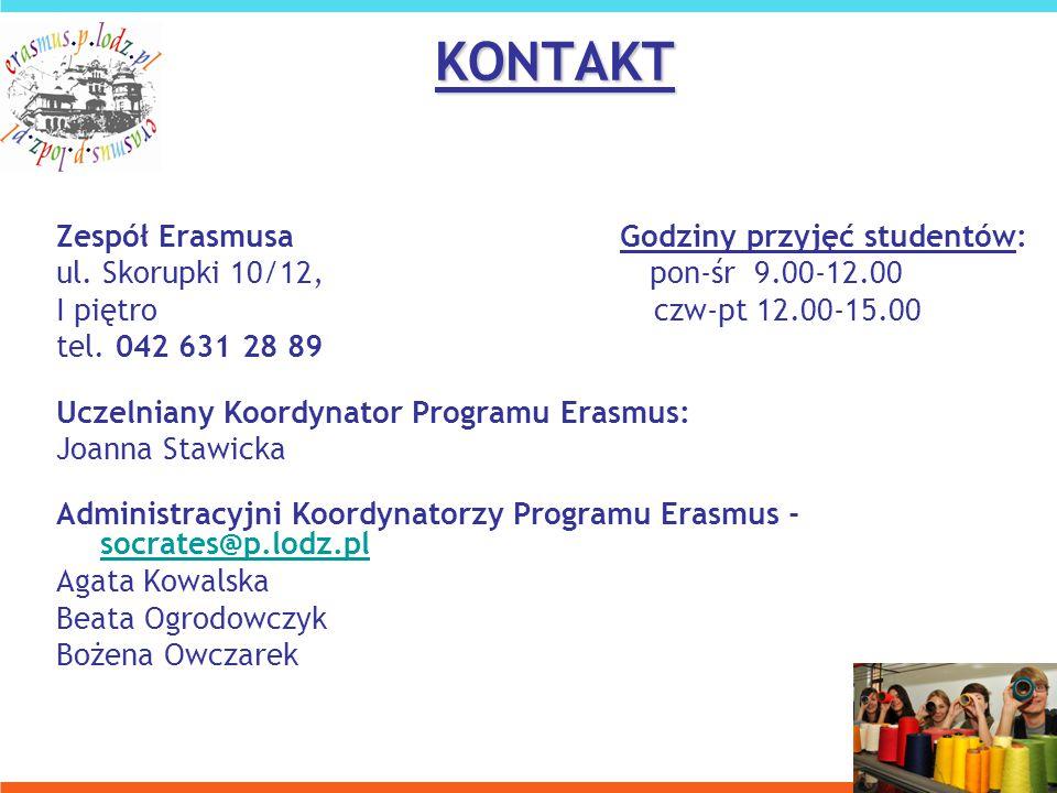 KONTAKT Zespół Erasmusa Godziny przyjęć studentów: ul.