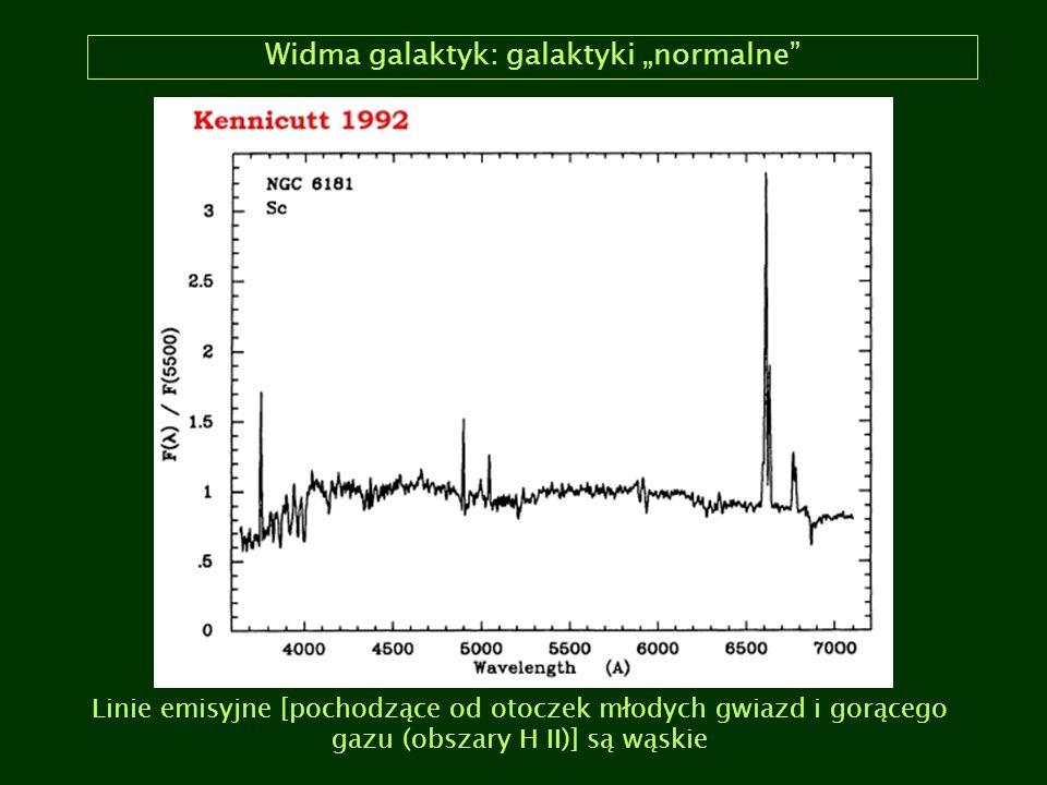 """Widma galaktyk: galaktyki """"normalne"""" Linie emisyjne [pochodzące od otoczek młodych gwiazd i gorącego gazu (obszary H II)] są wąskie"""