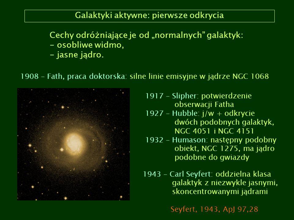 """Galaktyki aktywne: pierwsze odkrycia Cechy odróżniające je od """"normalnych"""" galaktyk: - osobliwe widmo, - jasne jądro. 1908 – Fath, praca doktorska: si"""