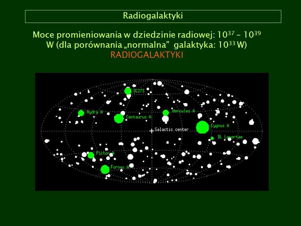 """Radiogalaktyki Moce promieniowania w dziedzinie radiowej: 10 37 – 10 39 W (dla porównania """"normalna"""" galaktyka: 10 33 W) RADIOGALAKTYKI"""