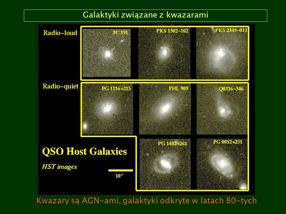 Galaktyki związane z kwazarami Kwazary są AGN-ami, galaktyki odkryte w latach 80-tych